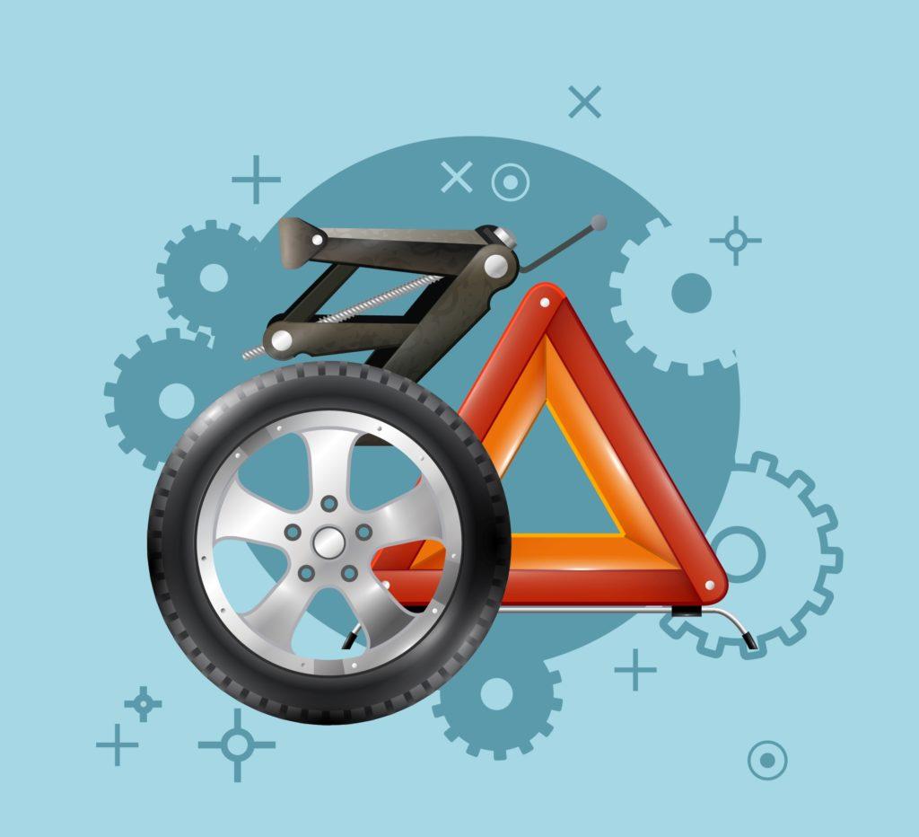 grafika pokazująca części samochodowe koło, podnośnik, trójką
