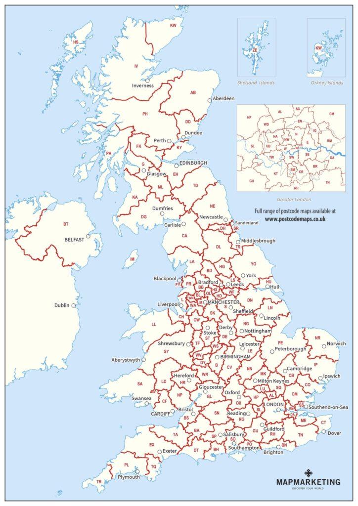 mapa kodów pocztowych Wielkiej Brytanii