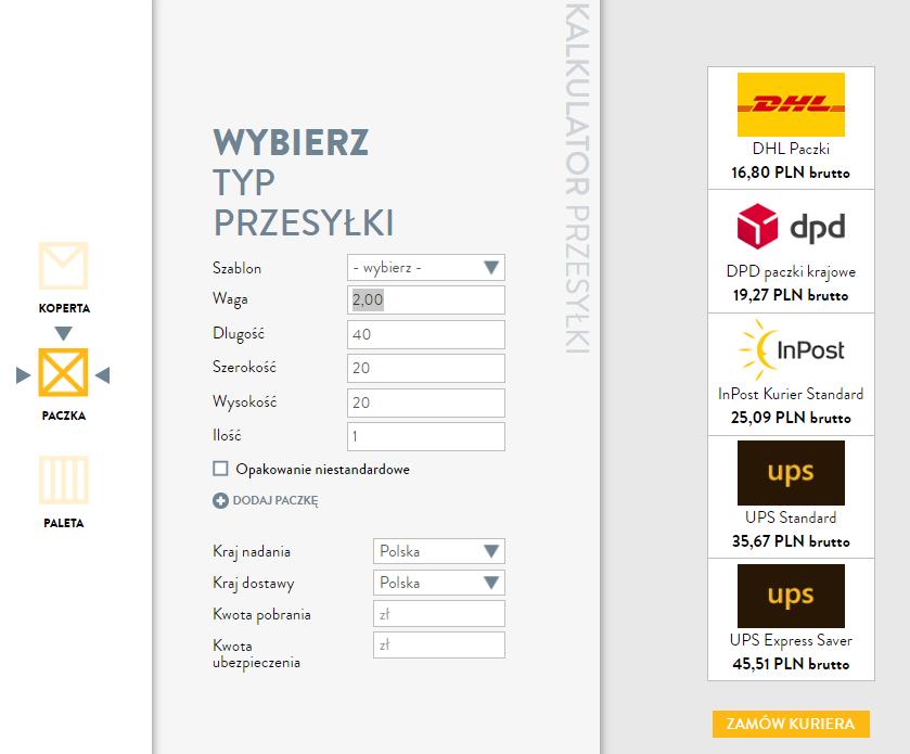 kalkulator cen przesyłek nastronie kuriernet.pl