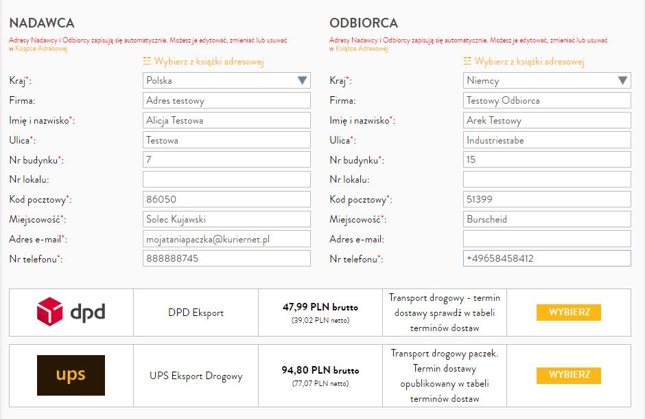 Tania paczka doNiemiec krok 2 - wpisanie danych Nadawcy iOdbiorcy