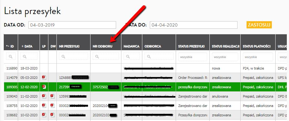 Sprawdzanie danych dotyczących paczki naliście przesyłek wserwisie kuriernet.pl