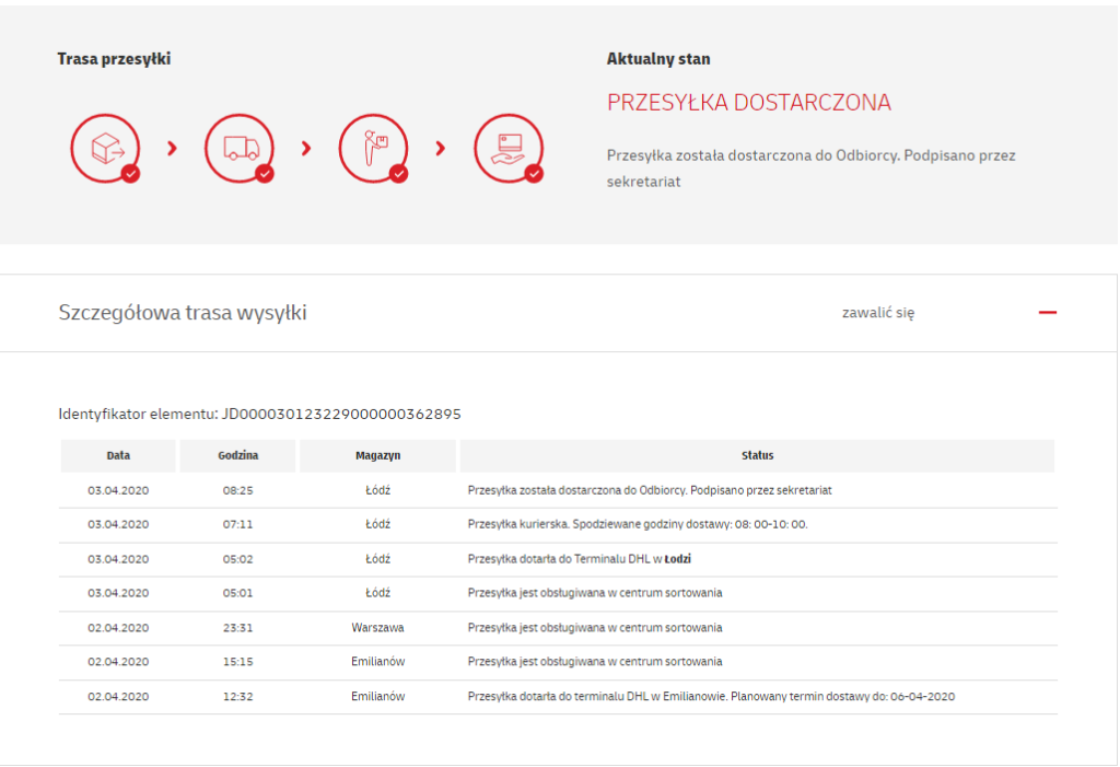 Szczegółowe śledzenie paczki DHL pokazuje wszystkie informacje oprzebiegu drogi paczki
