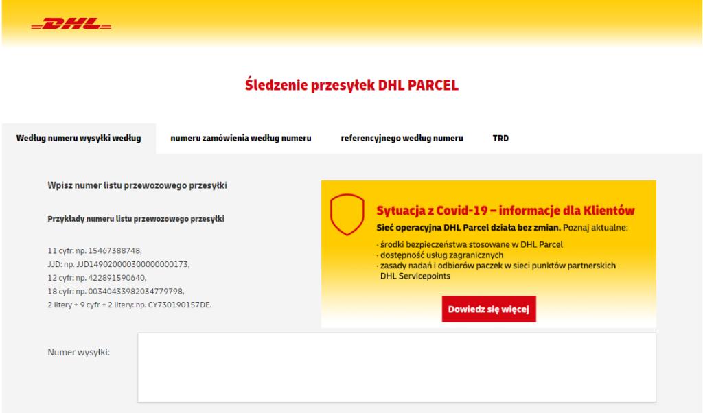 Strona Śledzenia przesyłki DHL