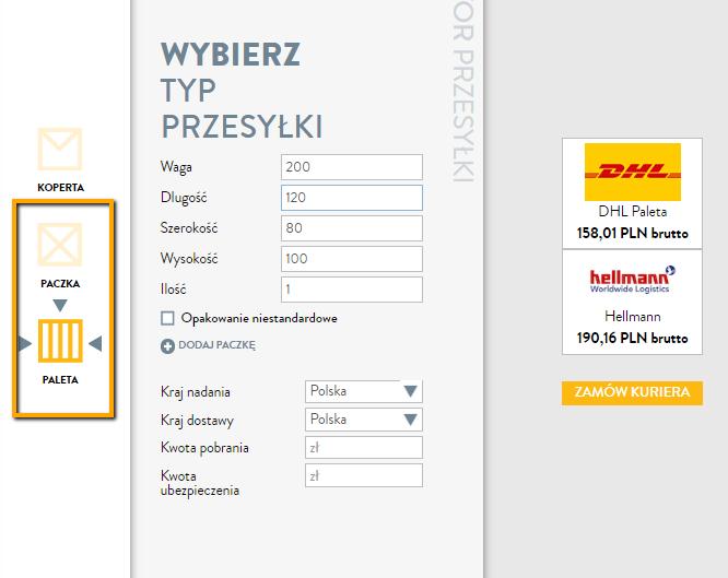 Wyceniając paletę nastronie kuriernet wybierz odpowiedni typ usługi: paczka kurierska, albopaleta
