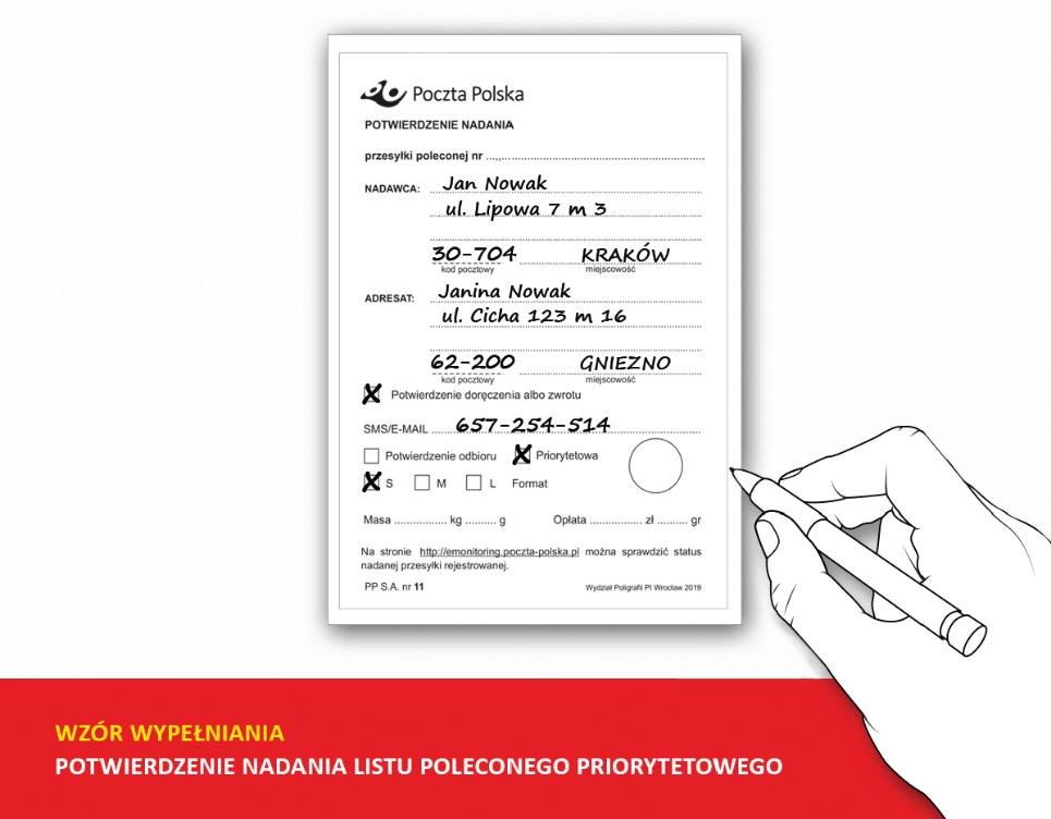 Poczta Polska - Wzór wypełniania - Potwierdzenie nadania listu poleconego priorytowego