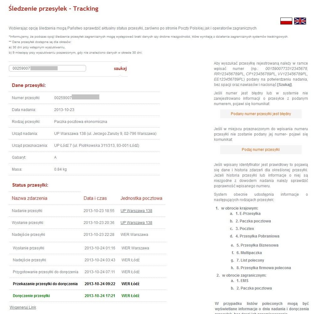 Poczta Polska - ekran śledzenia przesyłek