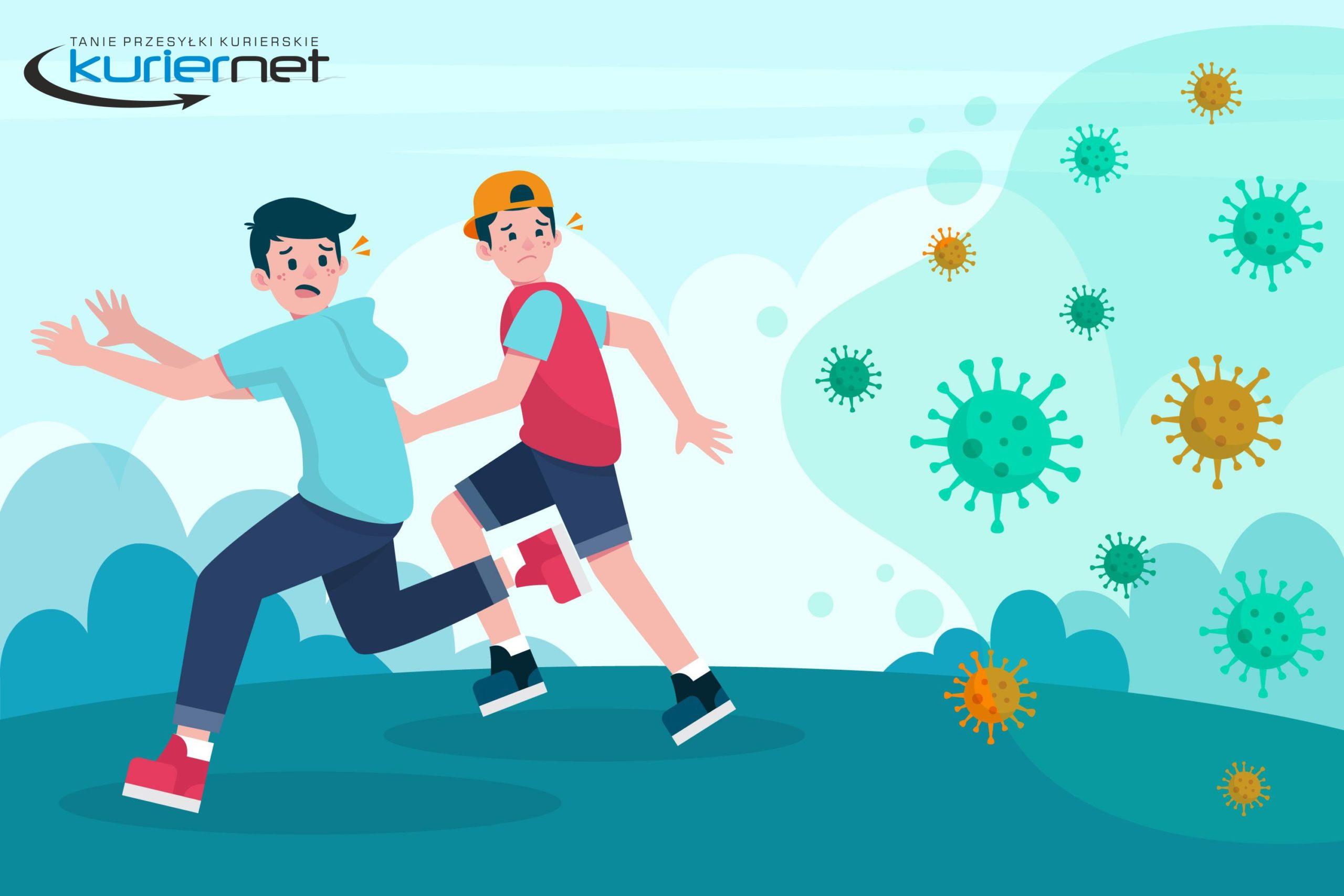 chłopcy uciekają przed koronawirusem