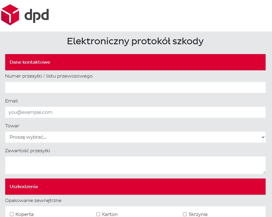 elektroniczny protokół szkody DPD
